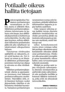 Mielipidekirjoitus Aamulehdessä, otsikko Potilaalla oikeus hallita tietojaan,